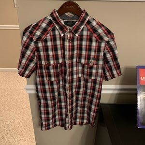 Oakley short sleeve button up shirt - plaid red